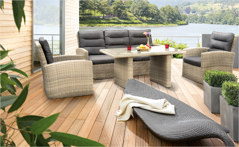 poly rattan gartenmoebel garten garnitur essgruppe. Black Bedroom Furniture Sets. Home Design Ideas