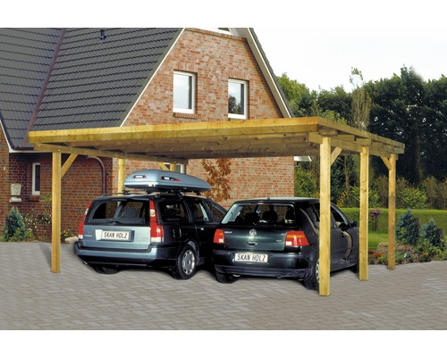 doppelcarport skan holz flachdach 520x500 cm. Black Bedroom Furniture Sets. Home Design Ideas
