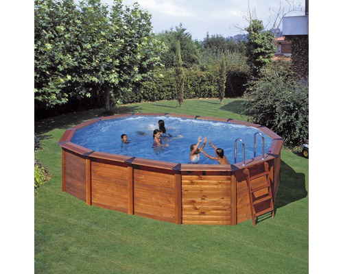 Holzpool set natur pool 610 x 375 cm h he 120 cm bei for Hornbach pool set