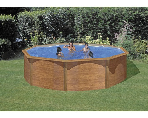 Stahlwandpool set imitat holzoptik 460 cm h he 120 cm for Hornbach pool set