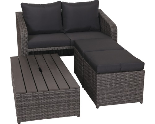 balkonset destiny jersey polyrattan 4 sitzer 4 teilig grau bei hornbach kaufen. Black Bedroom Furniture Sets. Home Design Ideas
