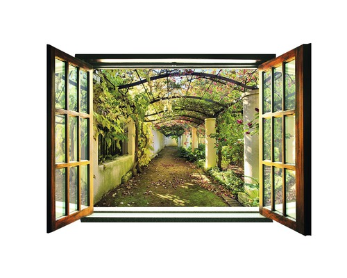 fototapete 719 vez4xl vlies fenster garten pergola 201 x 145 cm bei hornbach kaufen. Black Bedroom Furniture Sets. Home Design Ideas