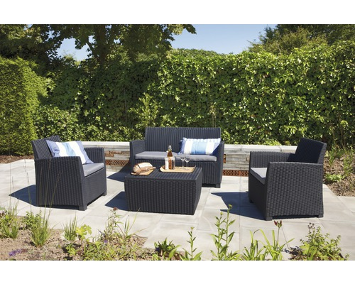 Loungeset allibert corona kunststoff 4 teilig 4 sitzer - Salon de jardin allibert hawaii lounge set ...