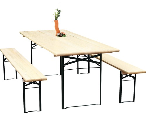 bierzeltgarnitur breite 80 cm fichte 3 teilig natur bei hornbach kaufen. Black Bedroom Furniture Sets. Home Design Ideas