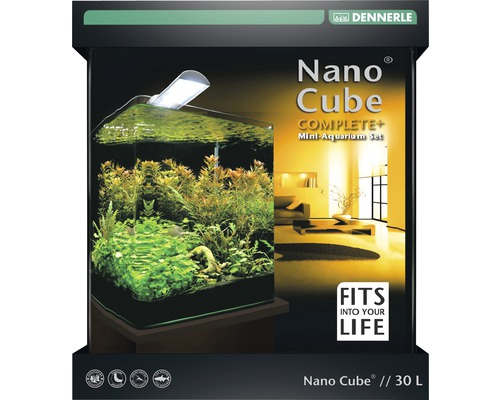 aquarium dennerle nano cube complete plus 30 l mit beleuchtung schaumstoffunterlage. Black Bedroom Furniture Sets. Home Design Ideas