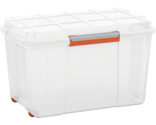 Top Kunststoffbox Atlas XL mit Deckel, 106 Liter, Transparent / Orange TC46