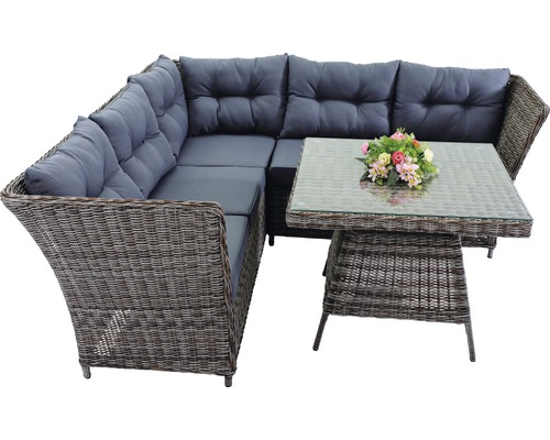 dining loungeset wenen polyrattan 5 sitzer 1 teilig grau bei hornbach kaufen. Black Bedroom Furniture Sets. Home Design Ideas