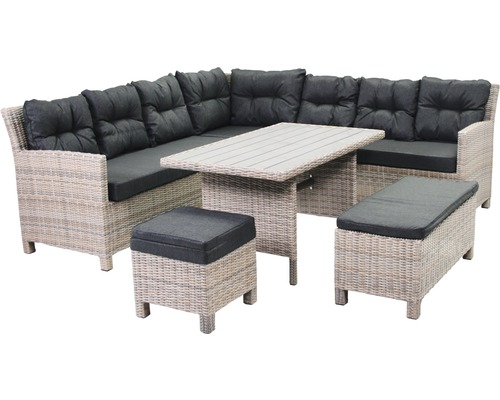 dining loungeset barbados polyrattan 10 sitzer 3 teilig braun bei hornbach kaufen. Black Bedroom Furniture Sets. Home Design Ideas