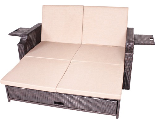 polyrattan sofa 2 sitzer grau. Black Bedroom Furniture Sets. Home Design Ideas