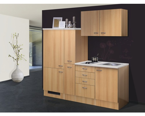 k chenzeile nano 190 cm buche dekor bei hornbach kaufen. Black Bedroom Furniture Sets. Home Design Ideas