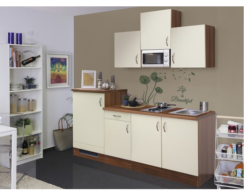 k chenzeile sienna 210 cm inkl einbauger te creme bei hornbach kaufen. Black Bedroom Furniture Sets. Home Design Ideas