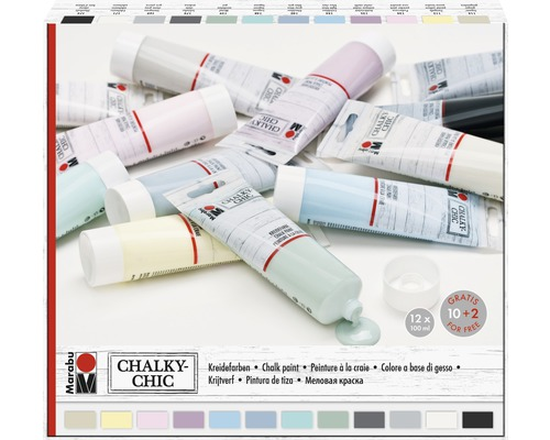 marabu kreidefarbe chalky chic 100 ml 12er set bei hornbach kaufen. Black Bedroom Furniture Sets. Home Design Ideas