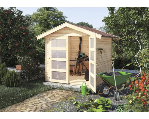 gartenhaus konsta mainburg 3 213x217 cm natur bei hornbach kaufen. Black Bedroom Furniture Sets. Home Design Ideas