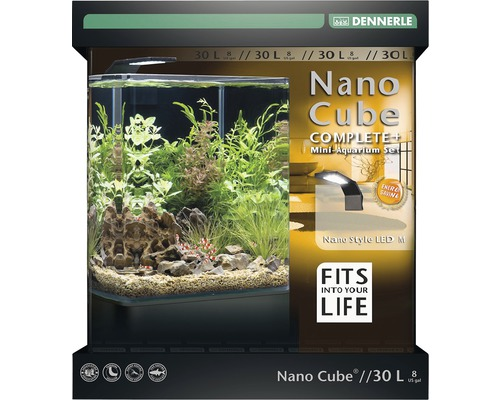 aquarium dennerle nano cube complete 30 l style led m mit led beleuchtung bodengrund filter. Black Bedroom Furniture Sets. Home Design Ideas