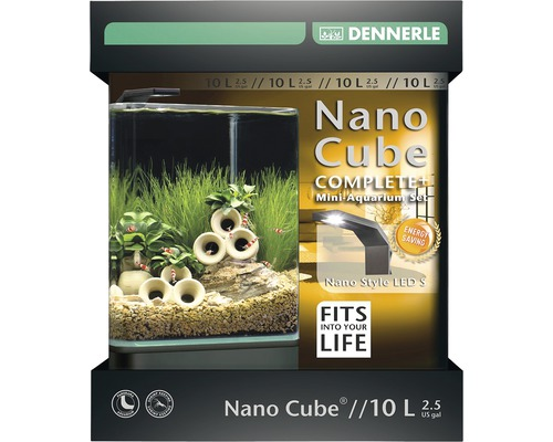 aquarium dennerle nano cube complete 10 l style led s mit led beleuchtung bodengrund filter. Black Bedroom Furniture Sets. Home Design Ideas