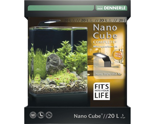 aquarium dennerle nano cube complete 20 l style led m mit led beleuchtung bodengrund filter. Black Bedroom Furniture Sets. Home Design Ideas