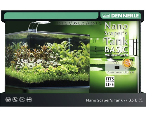 aquarium dennerle nano scaperstank complete 35 l mit beleuchtung led 5 0 und unterlage bei. Black Bedroom Furniture Sets. Home Design Ideas