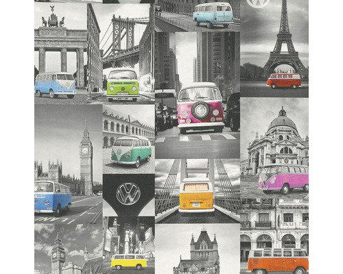 Vliestapete 42509-10 Collage VW Bulli grau bunt