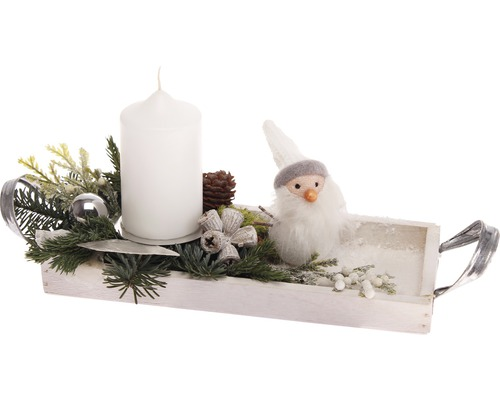 adventsgesteck schneemann 23x10x12 cm inkl stumpenkerze bei hornbach kaufen. Black Bedroom Furniture Sets. Home Design Ideas