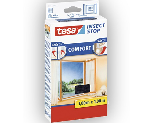 fliegengitter f r fenster tesa insect stop comfort anthrazit 100x100 cm bei hornbach kaufen. Black Bedroom Furniture Sets. Home Design Ideas