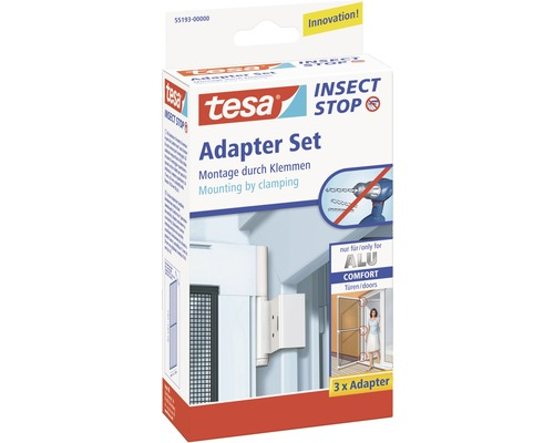 adapter set f r klemmmontage tesa insect stop comfort alu weiss 3er pack bei hornbach kaufen. Black Bedroom Furniture Sets. Home Design Ideas
