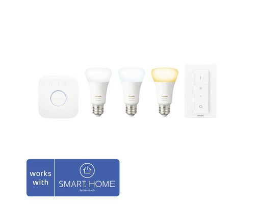 Philips Hue White Ambiance 3er Starter Kit E27/A60 806 lm Kompatibel mit all SMART HOME by hornbach