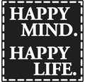 "Label ""Happy Mind. Happy Life"" 50x50mm"