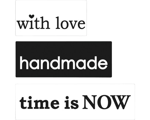 "Labels ""with love"",""handmade"",""time is NOW"" 3 Stück"