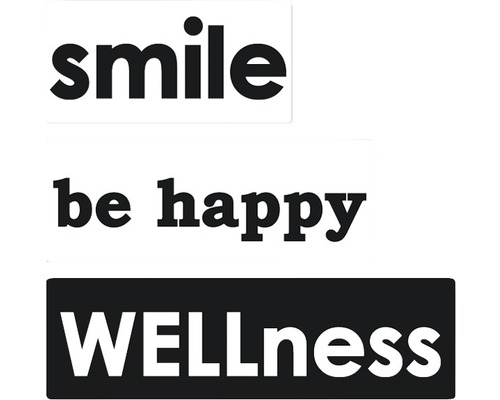 """Labels """"smile"""", """"be happy"""", """"WELLness"""", 3 Stück"""
