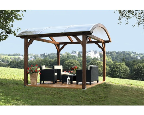 pavillon konsta grenoble mit aufschraubst tzen 370x327 cm natur bei hornbach kaufen. Black Bedroom Furniture Sets. Home Design Ideas