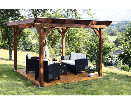 pavillon skan holz marseille mit aufschraubst tzen 350x327 cm natur bei hornbach kaufen. Black Bedroom Furniture Sets. Home Design Ideas
