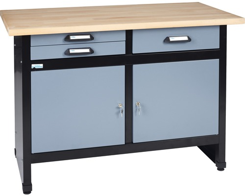 werkbank k pper hammerschlag silber 1200 mm 3 schubladen. Black Bedroom Furniture Sets. Home Design Ideas