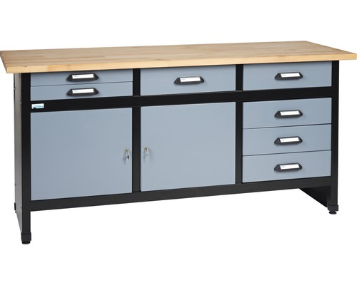werkbank k pper hammerschlag silber 1700 mm 7 schubladen 2 t ren bei hornbach kaufen. Black Bedroom Furniture Sets. Home Design Ideas
