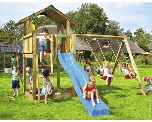 spielturm jungle gym chalet swing holz mit sandkasten doppelschaukel rutsche blau bei. Black Bedroom Furniture Sets. Home Design Ideas
