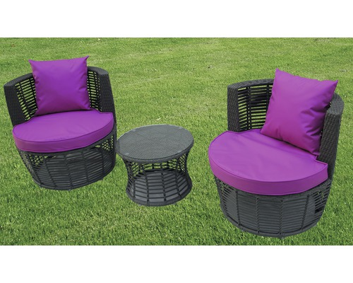 loungeset polyrattan 2 sitzer 3 teilig grau bei hornbach kaufen. Black Bedroom Furniture Sets. Home Design Ideas