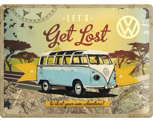 blechschild vw bulli get lost 30x40 cm bei hornbach kaufen. Black Bedroom Furniture Sets. Home Design Ideas