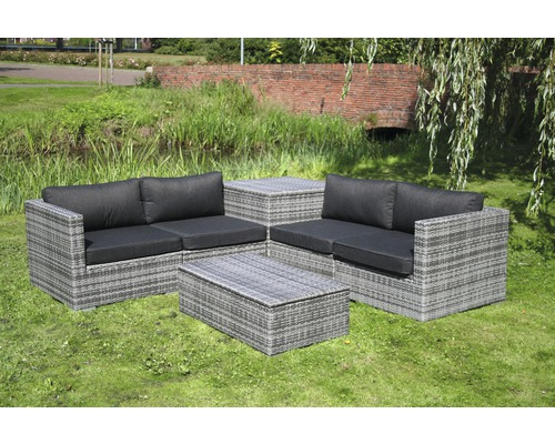 loungeset madrid polyrattan 4 sitzer 6 teilig grau bei hornbach kaufen. Black Bedroom Furniture Sets. Home Design Ideas