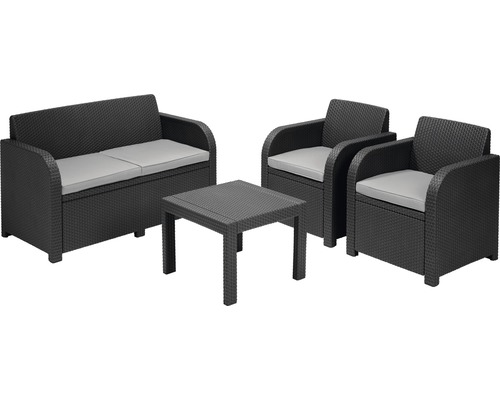 loungeset georgia polyrattan 4 sitzer 4 teilig grau bei hornbach kaufen. Black Bedroom Furniture Sets. Home Design Ideas