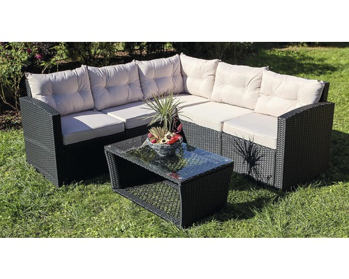 loungeset athen polyrattan 5 sitzer 6 teilig schwarz bei. Black Bedroom Furniture Sets. Home Design Ideas