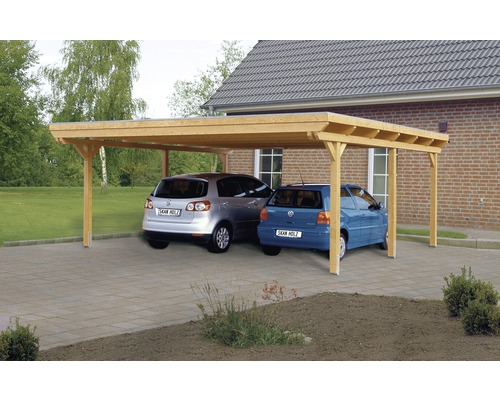 doppelcarport skan holz emsland 613x604 cm mit aluminium dach natur bei hornbach kaufen. Black Bedroom Furniture Sets. Home Design Ideas