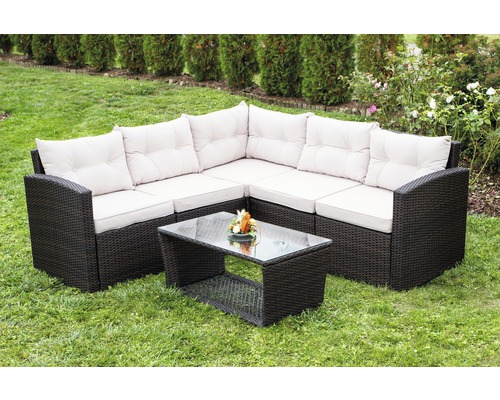 loungeset athen polyrattan 5 sitzer 6 teilig braun bei hornbach kaufen. Black Bedroom Furniture Sets. Home Design Ideas