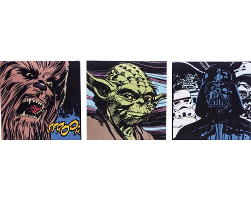 leinwandbild star wars comic 3x 30x30 cm 3er set bei. Black Bedroom Furniture Sets. Home Design Ideas