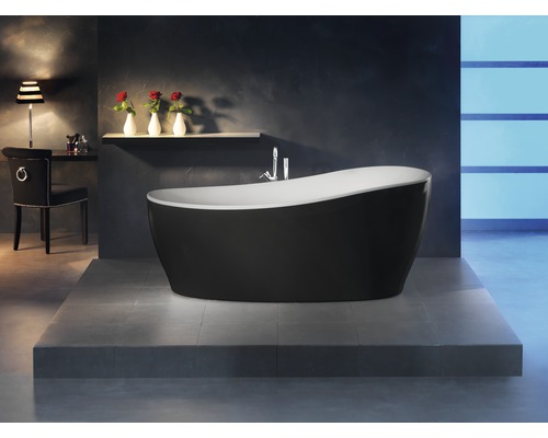 freistehende badewanne sempre 180x85 cm schwarz wei inkl. Black Bedroom Furniture Sets. Home Design Ideas