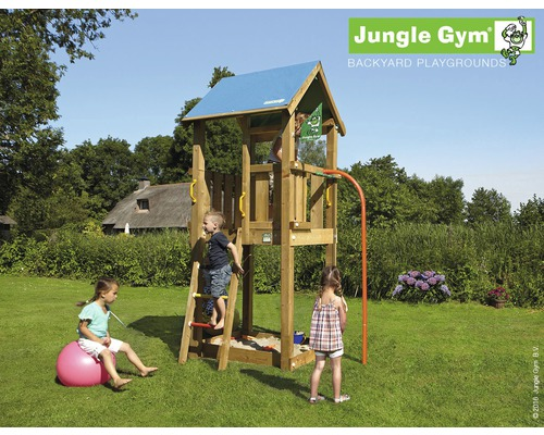 spielturm jungle gym castle holz mit sandkasten feuerwehrstange bei hornbach kaufen. Black Bedroom Furniture Sets. Home Design Ideas