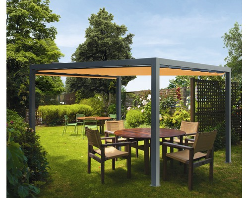 Pavillon Grau 500 x 300 cm Design 0867 orange ohne Senkrechtmarkise