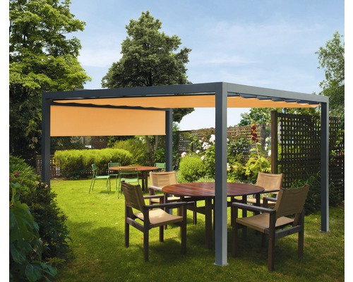 Pavillon Grau 400 x 500 cm Design 0867 orange mit Senkrechtmarkise