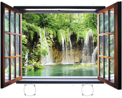 fototapete 1961vez4xl vlies fenster wasserfall 201 x 145 cm bei hornbach kaufen. Black Bedroom Furniture Sets. Home Design Ideas