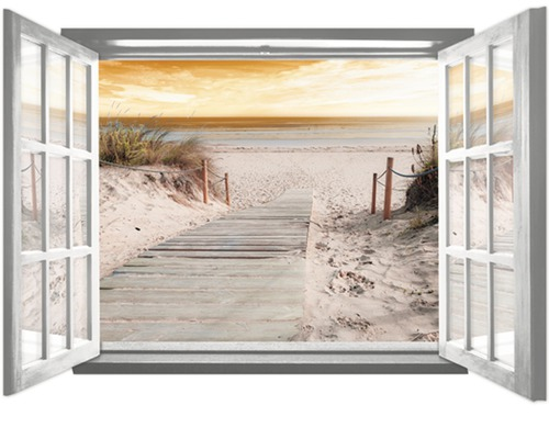fototapete 2080 vez4xl vlies fenster strandsteg 201 x 145 cm bei hornbach kaufen. Black Bedroom Furniture Sets. Home Design Ideas