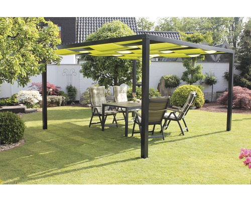 pavillon leco pergola loft 3 6x3 6x2 15 m textilen gr n bei hornbach kaufen. Black Bedroom Furniture Sets. Home Design Ideas